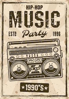 Cartel vintage de fiesta de música hip-hop noventa con ilustración de vector de boombox. texto y textura grunge separados en capas