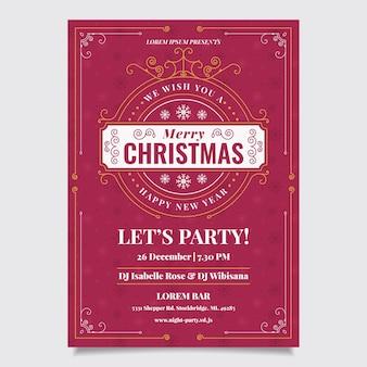 Cartel vintage de fiesta de navidad