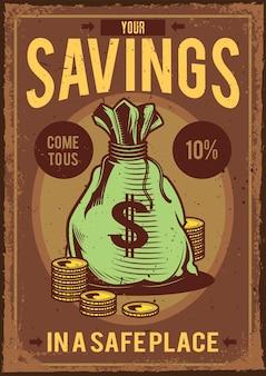Cartel vintage con ilustración de una bolsa con dinero y monedas alrededor