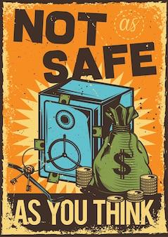 Cartel vintage con ilustración de una caja fuerte y una bolsa con dinero