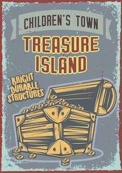 Cartel vintage con ilustración de un cofre con oro