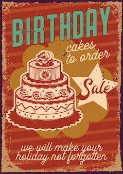 Cartel vintage con ilustración de un gran pastel