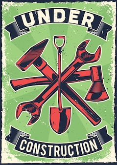 Cartel vintage con ilustración de un hacha, martillo, llave inglesa, pala