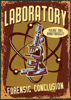Cartel vintage con ilustración de un microscopio y un átomo