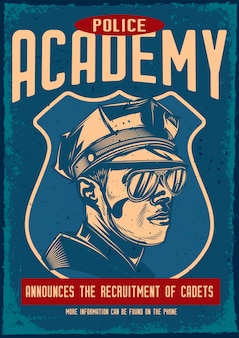 Cartel vintage con ilustración de un policía
