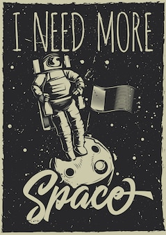 Cartel vintage con ilustración de un vehículo lunar y un planeta