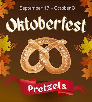 Cartel vintage oktoberfest con pretzels y hojas de otoño sobre fondo oscuro. banner de oktoberfest.