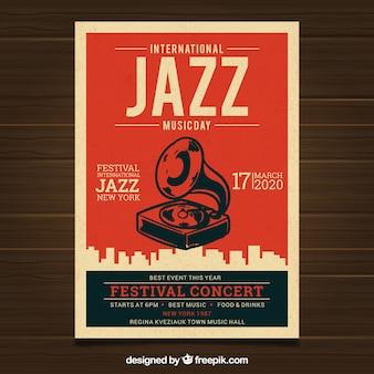 Cartel vintage para el día internacional del jazz