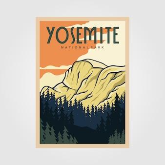 Cartel vintage del parque nacional de yosemite, diseño de ilustraciones vectoriales al aire libre