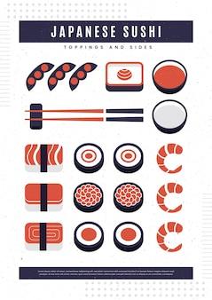 Cartel vintage con pescado sushi