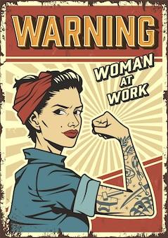 Cartel vintage de poder de mujer