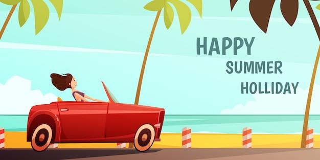 Cartel vintage de vacaciones en una isla tropical de vacaciones de verano con una niña conduciendo un automóvil retro rojo cabrio