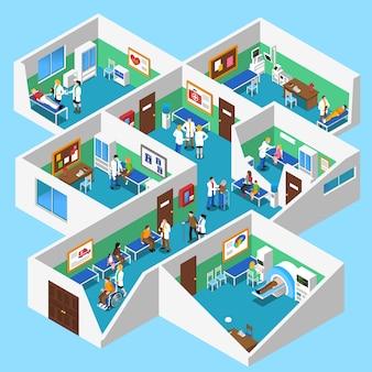 Cartel de vista isométrica interior de instalaciones de hospital