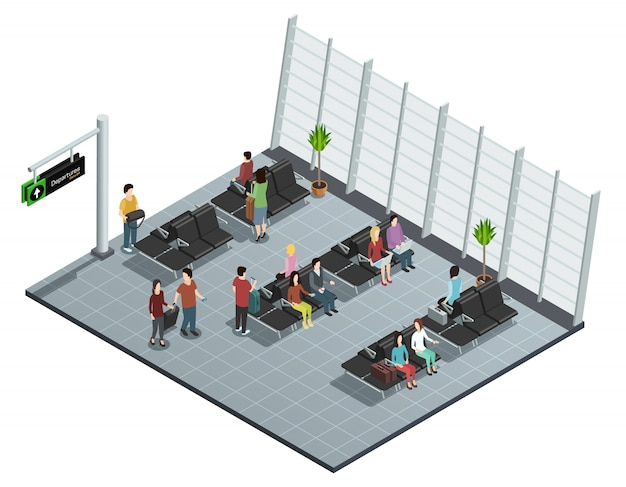 Cartel de la vista isométrica del salón de salida del aeropuerto