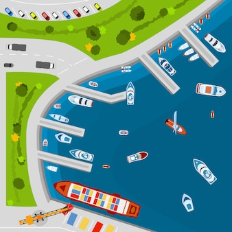 Cartel de vista superior aérea del puerto de la playa