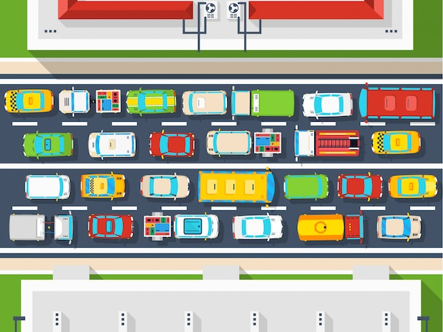 Cartel de vista superior de atasco de tráfico