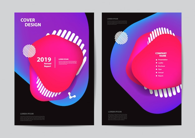 Cartel volante folleto folleto cubierta burbujas geométricas