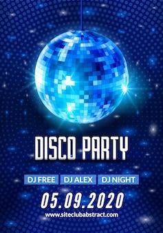 Cartel de volante de fondo de fiesta de baile disco. diseño de plantilla de fiesta de vector. música ligera de bola de discoteca