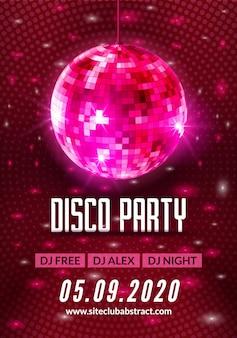 Cartel de volante de fondo de fiesta de baile disco. música ligera de bola de discoteca