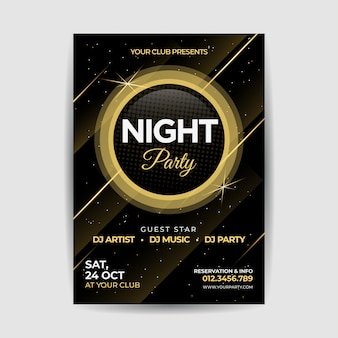 Cartel del volante de golden night party golden