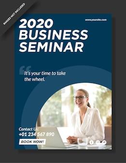 Cartel web del seminario empresarial y publicación en redes sociales.