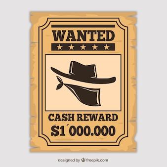 Cartel de western para encontrar un delincuente