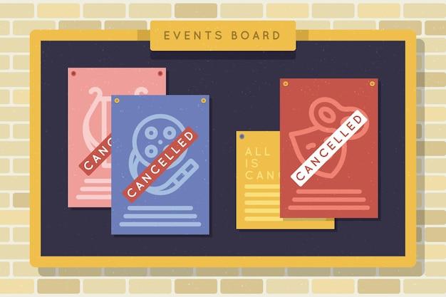Cartelera de anuncios de varios eventos cancelados