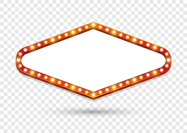 Cartelera de bombillas eléctricas. marcos de luz retro rombo vacíos para texto. ilustración