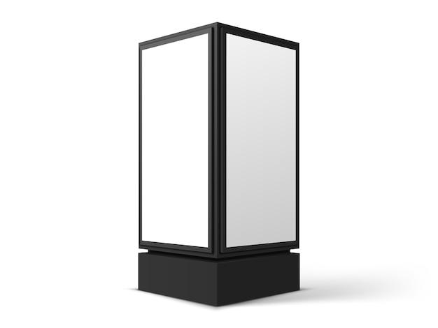 Cartelera de calle vertical para publicidad, aislado sobre fondo blanco. realista