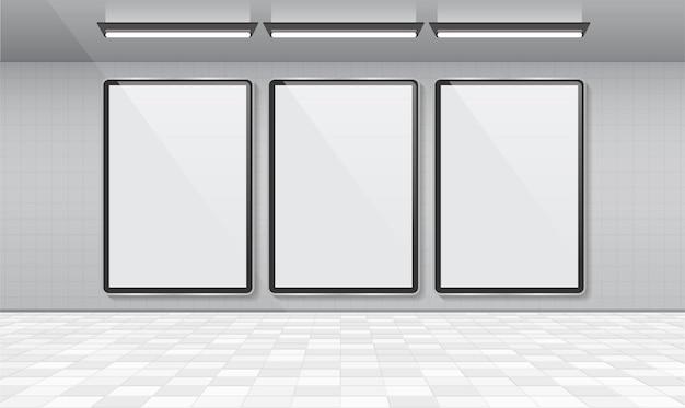 Cartelera de cartel blanco en blanco para el diseño de vectores de publicidad.