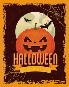 Cartelera de halloween con tarjeta de felicitación de calabaza y luna