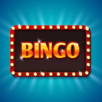 Cartelera de lotería de bingo con bombillas.