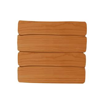 Cartelera de madera limpia simple en blanco aislado