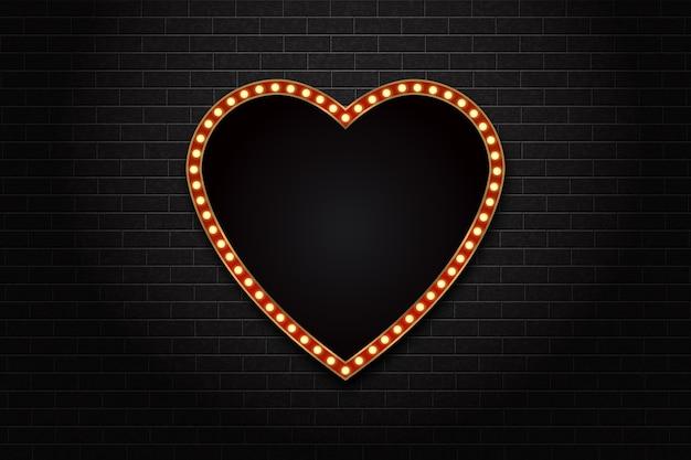 Cartelera de marquesina de neón de corazón retro aislado realista para decoración y revestimiento en el fondo de la pared. concepto de cine y broadway.