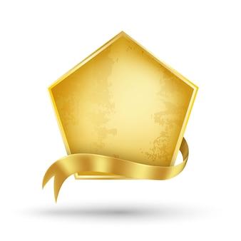 Cartelera de oro y cinta dorada ilustración vectorial para información de promoción y carteles