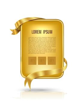 Cartelera de oro y cinta dorada