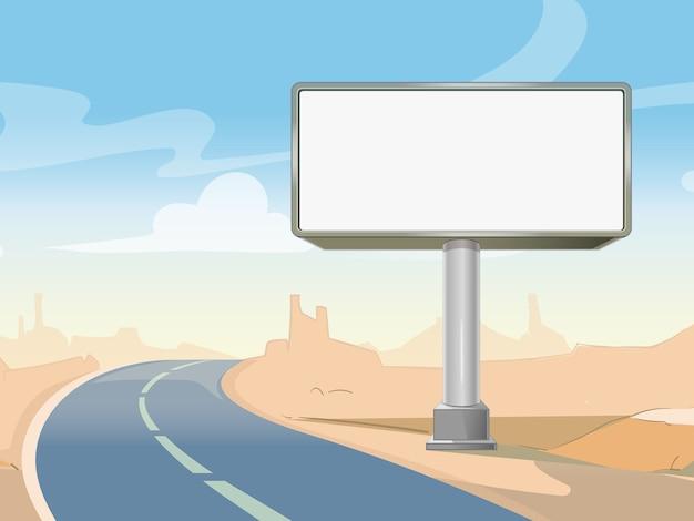 Cartelera de publicidad vial y paisaje desértico. marco comercial en blanco al aire libre. ilustración vectorial