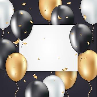 Cartelera publicitaria con globos dorados y negros