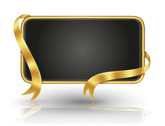 Cartelera rectangular de oro redondo y cinta dorada para información y cartel de banner.