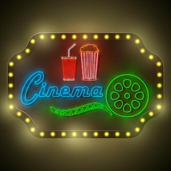 Cartelera retro del cine colorido de neón.