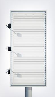 Cartelera vertical ligera comercial para publicidad con lienzo en blanco y proyectores aislados