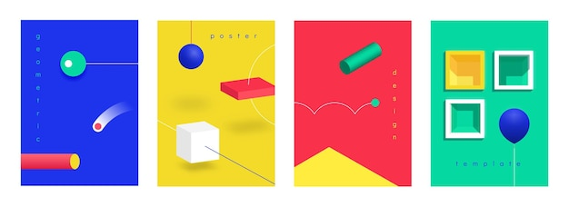 Carteles abstractos en 3d. banners de tecnología futurista isométrica con formas geométricas de degradado. ilustración de vector de fondo de diseño moderno de moda con colores vibrantes