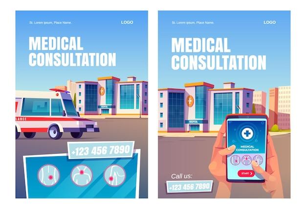 Carteles de aplicaciones de consulta médica en línea.