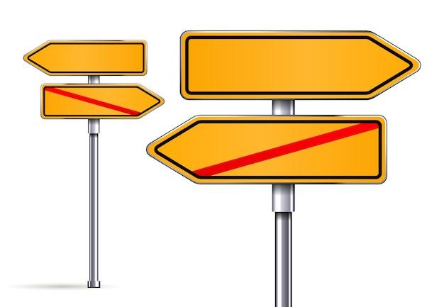 Carteles en blanco que apuntan en direcciones opuestas ilustración vectorial