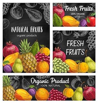 Carteles de bosquejo de frutas frescas, piña natural, granada, albaricoque o uvas con ciruela. pera, mango, naranja y manzana orgánicos con aguacate. surtido exótico de productos agrícolas ecológicos dibujados a mano.