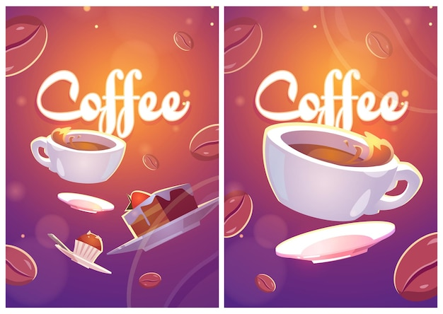 Carteles de café con ilustración de taza y dulces.