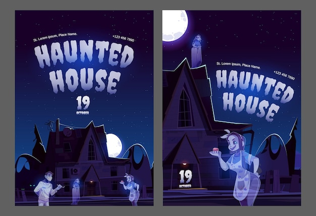 Carteles de casa embrujada con casa antigua con fantasmas en la noche.