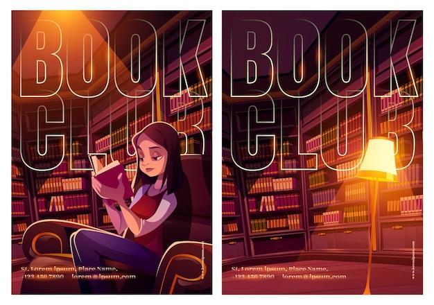 Carteles del club de lectura con interior de biblioteca y niña lee en silla