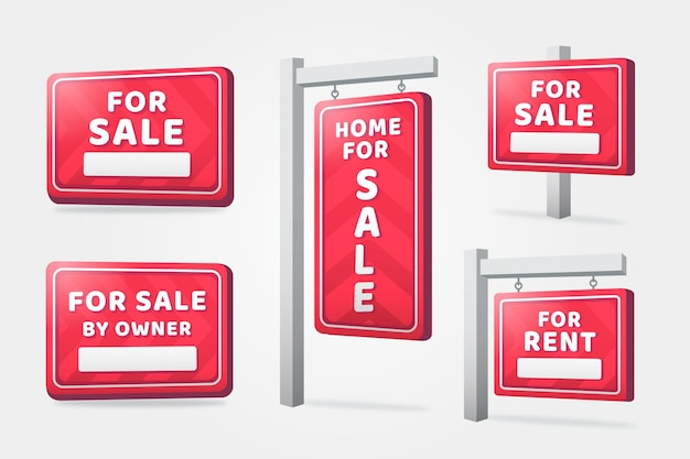 Carteles colgantes de bienes raíces realistas