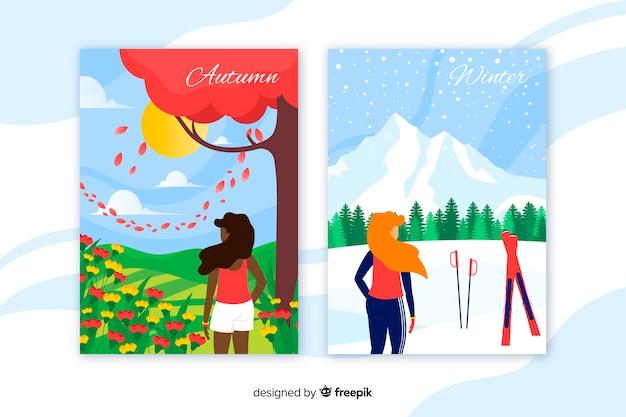Carteles coloridos de otoño e invierno